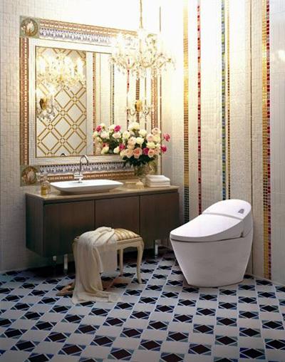 Thư giãn trong không gian phòng vệ sinh lãng mạn và đầy tiếng nhạc từ Inax Shower Toilet.
