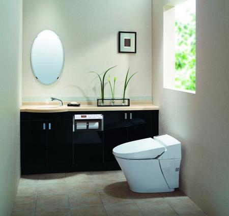 Không gian nhà vệ sinh tinh tế với Inax Shower Toilet.