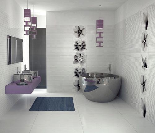 Phòng tắm đơn giản mà lôi cuốn với đồ đạc kiểu dáng độc đáo, thêm vào những chiếc đèn treo.