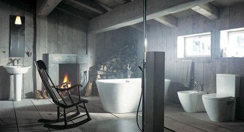 Phòng tắm theo kiểu thôn dã nhưng vẫn rất tiện nghi.