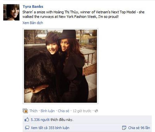 Tyra Banks chia sẻ trên facebook, khẳng định Hoàng Thùy đã được sải bước trên các sàn diễn của New York Fashion Week.