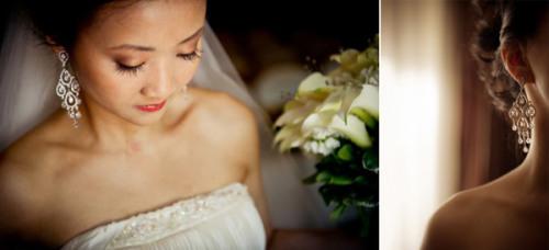 Hoa tai dáng dài hợp với cô dâu gương mặt tròn. Ảnh: Elizabeth.