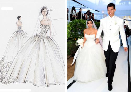 Kim Kardashian mặc ba chiếc váy Vera Wang khác nhau trong đám cưới ở Montecito với Kris Humphries. Một trong số đó là chiếc váy quây bồng bềnh cùng khăn voan rất dài phía sau, phần eo thon ôm sát khiến nổi bật thân hình đồng hồ cát của cô dâu. Ảnh: Vera Wang/ Startraks Photos.
