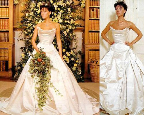 Victoria Beckham gần như làm sống lại mốt váy cưới quây kể từ sau đám cưới của cô với David Beckham được tổ chức.