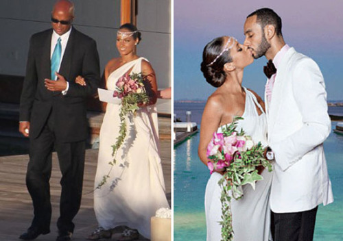 Alicia Keys mặc chiếc váy lụa trắng của Vera Wang cho đám cưới của mình với Swizz Beatz. Cô trông như một nữ thần khi chọn váy cưới lệch vai và thay khăn voan bằng chiếc vòng ngọc trai trên đầu.