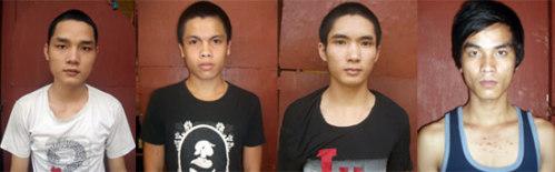 4 trong số 5 thanh niên bị cơ quan điều tra bắt để điều tra hành vi cướp tài sản. Ảnh: Tuấn Hương.