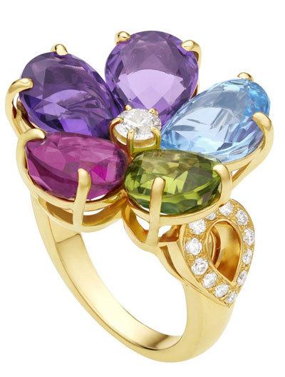 Nhẫn Flora bằng vàng, đính kim cương và đá quý