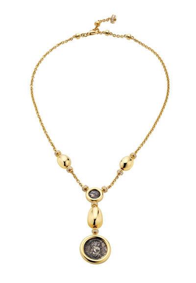 Dây chuyền Monete bằng vàng, đính kim cương với mặt là đồng tiền xu cổ La Mã có niên đại gần 2000 năm.