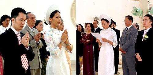 Diễn viên Hồng Ánh mặc áo dài trắng, cách điệu tay và đội mấn khi làm Lễ Hằng thuận tại chùa. Với kiểu áo dài truyền thống, Hồng Ánh chọn đeo thêm kiềng và hoa tai hình giọt nước.