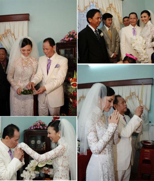 Người đẹp Huỳnh Thanh Tuyền bắt kịp xu hướng mới khi mặc áo dài ren trong lễ rước dâu. Cô dâu đội khăn voan cùng màu áo dài và cùng tông với vest của chú rể.