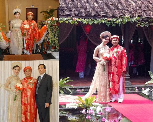 Áo dài của người đẹp Dương Trương Thiên Lý có tà phía sau kéo dài giống đuôi váy cưới. Màu vàng đồng của áo dài vừa sang trọng lại vừa quý phái. Cô dâu càng thêm cao khi đội mấn cùng màu với áo dài.