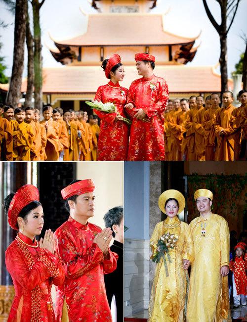 Trong buổi làm lễ tại chùa và lễ rước dâu, Thúy Nga và chú rể đều chọn áo dài truyền thống. Màu sắc vàng, đỏ vừa trang trọng, vừa làm cô dâu và chú rể nổi bật.