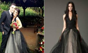 Sao 'chơi trội' với váy cưới màu đen