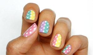 Nail chấm bi pastel dễ thương