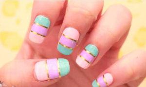 Nail pastel nhấn nhá ánh kim sành điệu