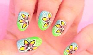 Nail ombre họa tiết hoa xinh yêu