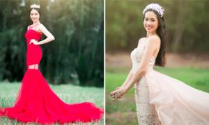 Hai váy cưới màu sắc đối lập cho cô dâu trẻ trung