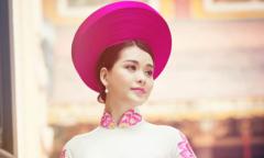Á khôi Khánh Linh đằm thắm với áo dài