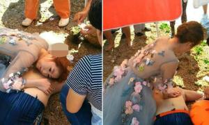 Cô dâu dừng chụp ảnh cưới để cứu người gặp nạn