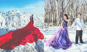 Váy cưới màu sắc nổi bật giữa mùa đông lạnh