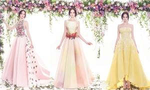 Váy cưới in hoa bay bổng cho cô dâu kẹo ngọt