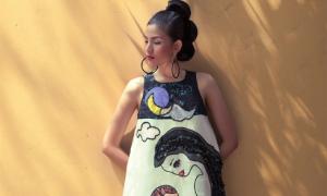 Trương Thị May hóa 'mẹ bầu' với váy áo họa tiết tranh vẽ