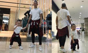 Nghiêm Xuân Tú mặc đồ đôi với cậu con trai lém lỉnh