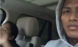 Sao MU vừa lái xe vừa quay video con gái hát