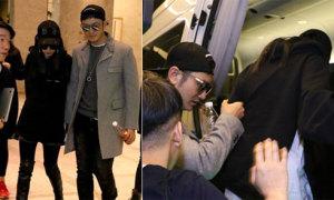 Huỳnh Hiểu Minh tình cảm che chở cho vợ bầu ở sân bay