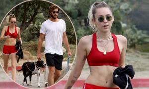 Miley Cyrus khoe thân hình săn chắc khi đi tập thể dục với bạn trai