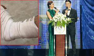 MC Vũ Mạnh Cường bị gãy chân vẫn gắng dẫn chung kết Hoa hậu