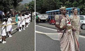 Cô dâu bị điều tra vì nhờ 250 học sinh cầm khăn voan
