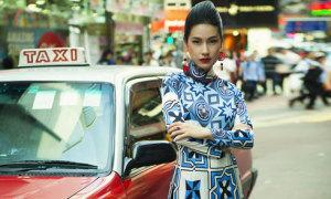 Kathy Uyên diện áo dài gạch bông, khoe sắc ở Hong Kong