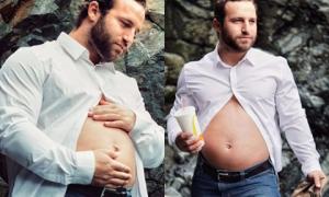 Ông bố trẻ tỏa sáng sau khi chụp ảnh khoe 'bụng bầu'