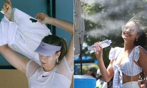 Các tay vợt và fan chống chọi với nắng nóng ở Australia mở rộng