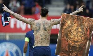 Ibrahimovic xăm thêm hình để phủ kín lưng