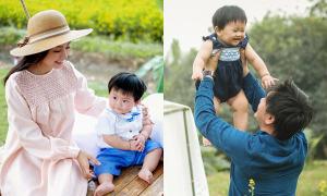Con trai Khánh Hiền thích thú đi chơi ngoài trời cùng bố mẹ
