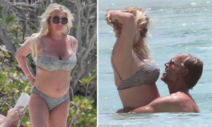 Jessica Simpson lộ eo 'bánh mì' khi đi tắm biển