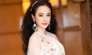 Angela Phương Trinh diện áo choàng xuyên thấu thêu hoa đi sự kiện