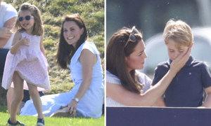 Charlotte nghịch ngợm, George rụt rè khi cùng mẹ đi xem bố thi đấu polo