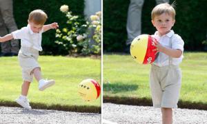 Hoàng tử nhí Thụy Điển chơi bóng trong tiệc sinh nhật mẹ