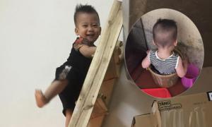 'Chiến tích' của cậu bé nhoắng cái là nghịch nước, leo cầu thang