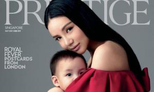 Ái nữ của tỷ phú Singapore không giảm cân cấp tốc sau sinh, nuôi con bằng sữa mẹ