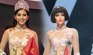 Tiểu Vy diện áo dài thêu truyện cổ tích Việt khi xuất hiện cùng Beckham