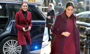 Kate và Meghan mặc 'đồ đôi' dự hai sự kiện khác nhau