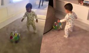 Con trai hơn một tuổi của C. Ronaldo trổ tài đá bóng