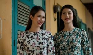 Áo dài in họa tiết hoa của nhà thiết kế An Nhiên