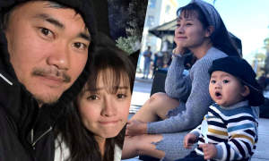 Chồng Việt kiều và con trai đi xem Khánh Hiền đóng phim ma