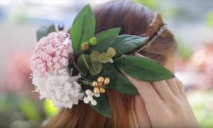 Hướng dẫn làm bờm kết hoa cho cô dâu