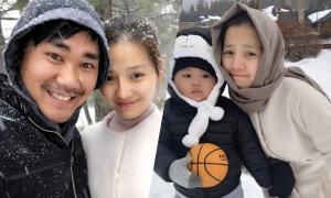 Gia đình Khánh Hiền chơi đùa giữa trời tuyết ở Mỹ
